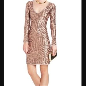 BCBG Rose Gold Sequin Dress